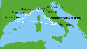 "Карта морского круиза ""Европейские каникулы из Рима"" на Norwegian Epic (Norwegian Cruise Line)"