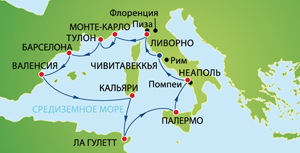 """Карта морского круиза """"Средиземноморские каникулы из Рима"""" на Norwegian Jade (Norwegian Cruise Line)"""